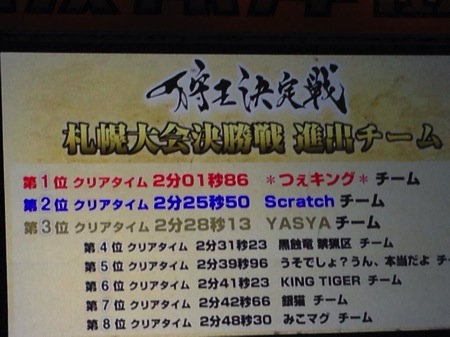 札幌狩王予選結果